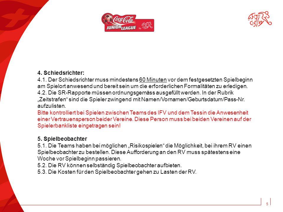6 Zur Kenntnis genommen: Verein: Unterschrift Trainer:Unterschrift Vereinsfunktionär: Manual Coca-Cola Junior League (gestützt auf WR/JR) Fairplay and Respect