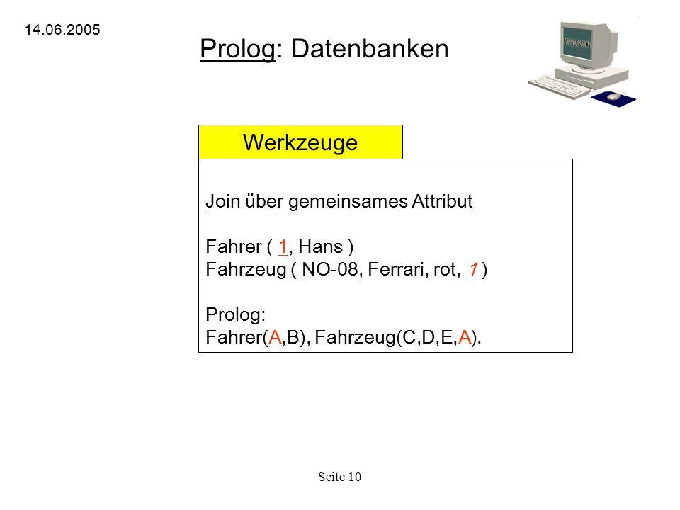 Seite 10 Prolog: Datenbanken 14.06.2005 Werkzeuge Join über gemeinsames Attribut Fahrer ( 1, Hans ) Fahrzeug ( NO-08, Ferrari, rot, 1 ) Prolog: Fahrer(A,B), Fahrzeug(C,D,E,A).