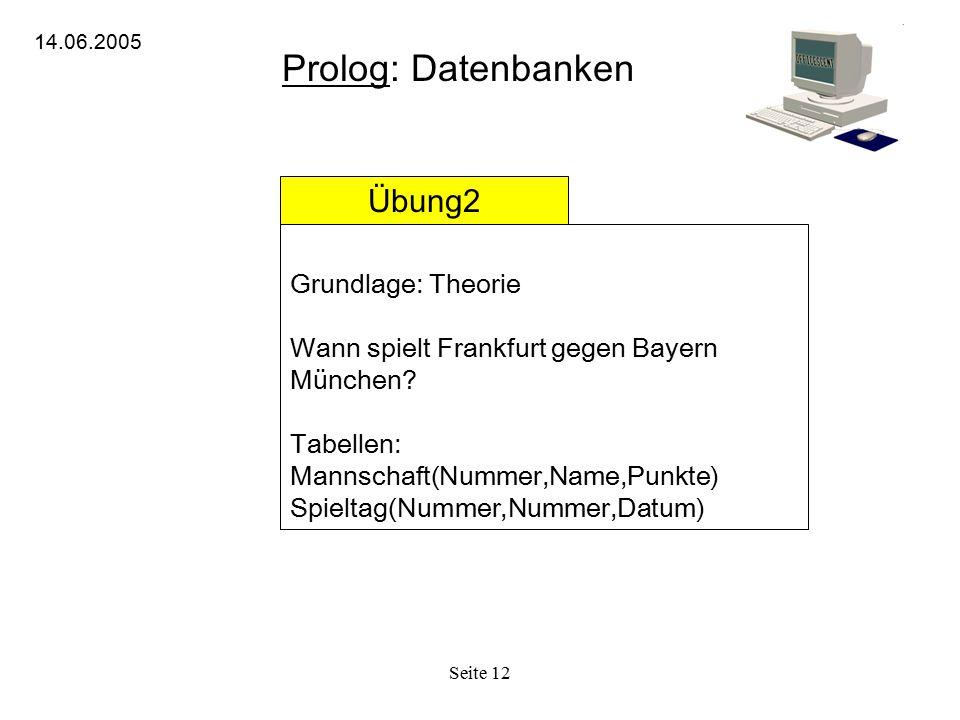 Seite 12 Prolog: Datenbanken 14.06.2005 Übung2 Grundlage: Theorie Wann spielt Frankfurt gegen Bayern München? Tabellen: Mannschaft(Nummer,Name,Punkte)