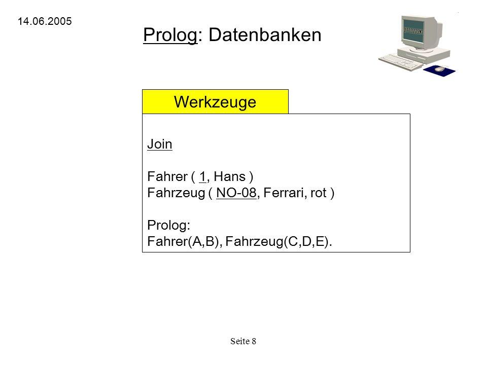 Seite 8 Prolog: Datenbanken 14.06.2005 Werkzeuge Join Fahrer ( 1, Hans ) Fahrzeug ( NO-08, Ferrari, rot ) Prolog: Fahrer(A,B), Fahrzeug(C,D,E).