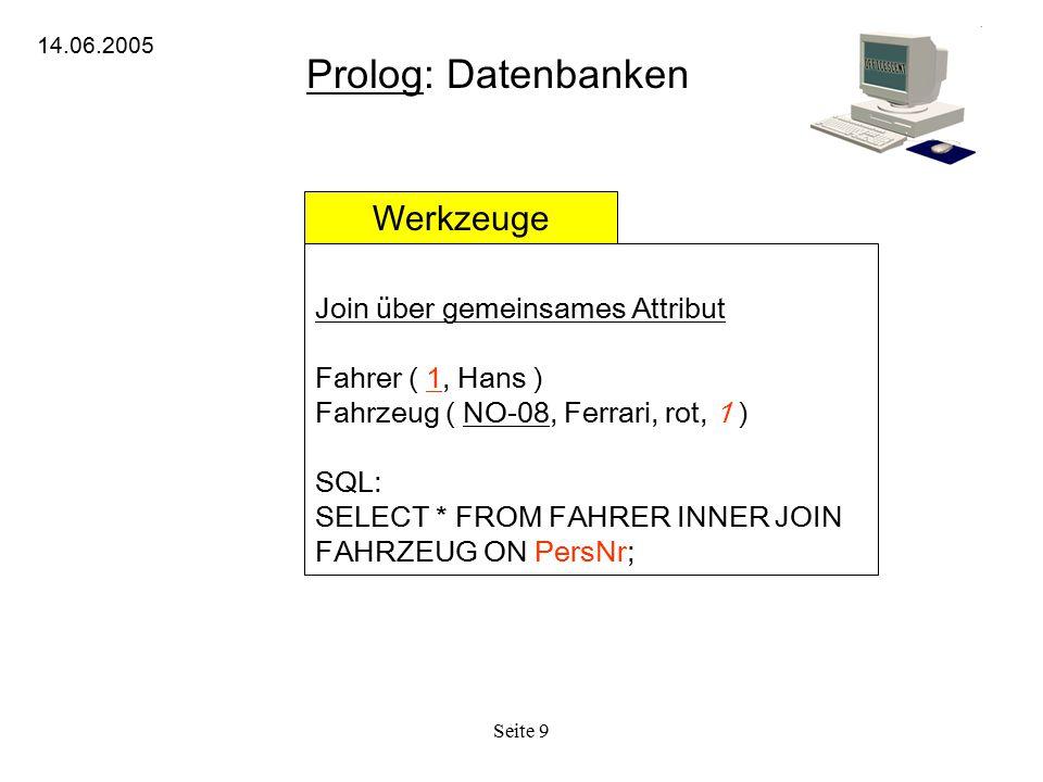 Seite 9 Prolog: Datenbanken 14.06.2005 Werkzeuge Join über gemeinsames Attribut Fahrer ( 1, Hans ) Fahrzeug ( NO-08, Ferrari, rot, 1 ) SQL: SELECT * F