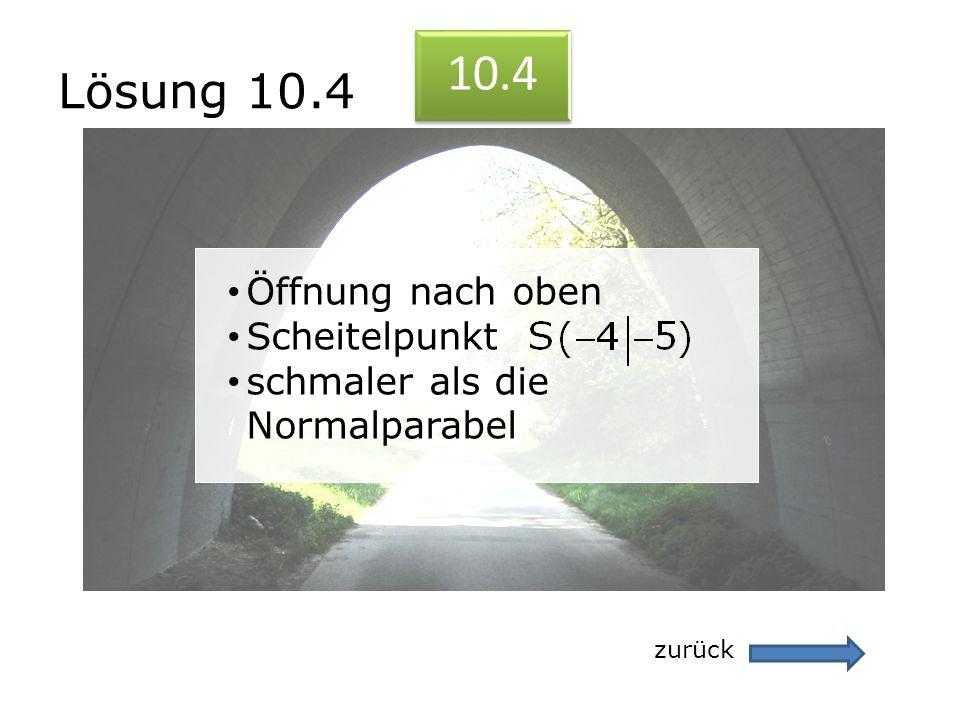 Lösung 10.4 zurück 10.4 Öffnung nach oben Scheitelpunkt schmaler als die Normalparabel