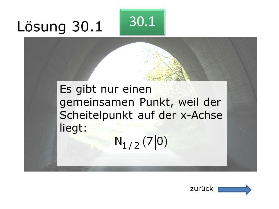 Lösung 30.1 zurück 30.1 Es gibt nur einen gemeinsamen Punkt, weil der Scheitelpunkt auf der x-Achse liegt: Es gibt nur einen gemeinsamen Punkt, weil d