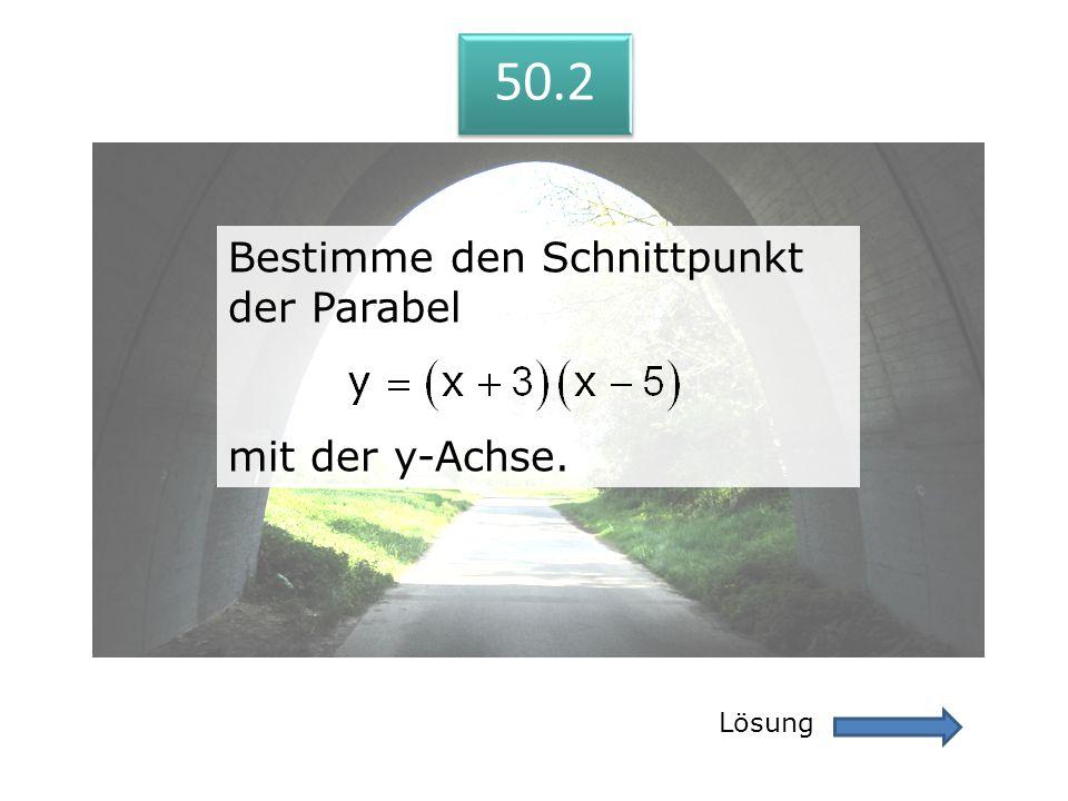 50.2 Lösung 50.2 Bestimme den Schnittpunkt der Parabel mit der y-Achse. Bestimme den Schnittpunkt der Parabel mit der y-Achse.
