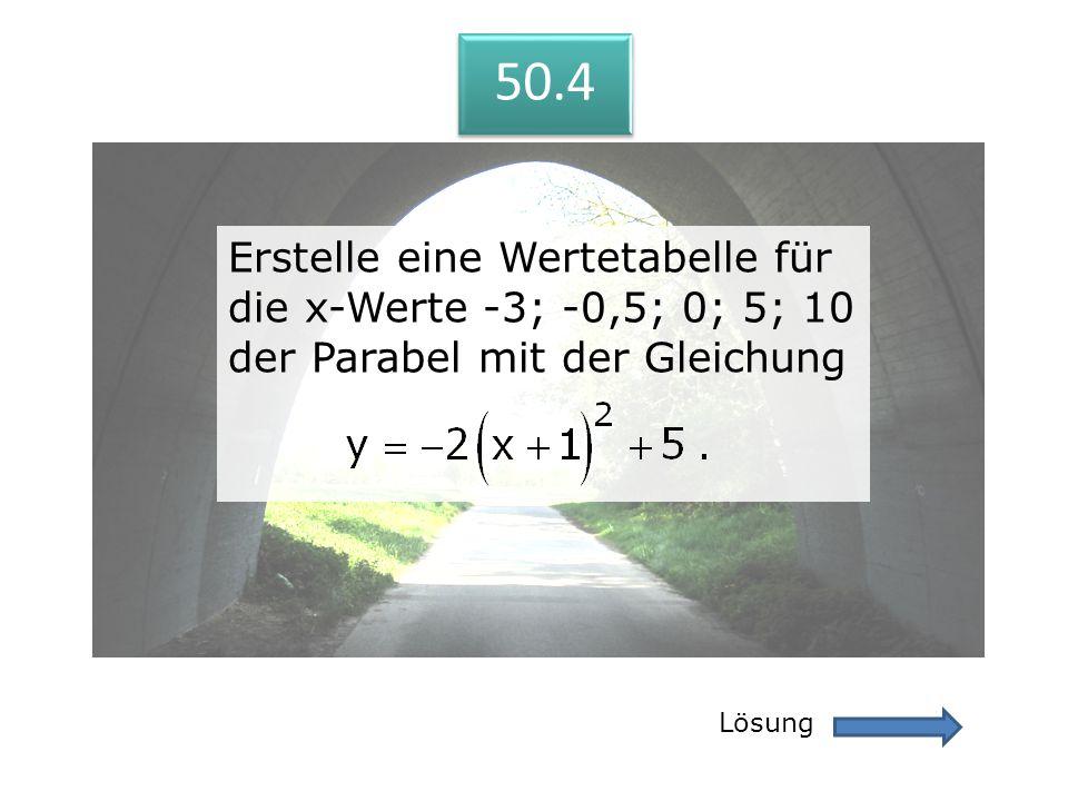 50.4 Lösung 50.4 Erstelle eine Wertetabelle für die x-Werte -3; -0,5; 0; 5; 10 der Parabel mit der Gleichung Erstelle eine Wertetabelle für die x-Wert