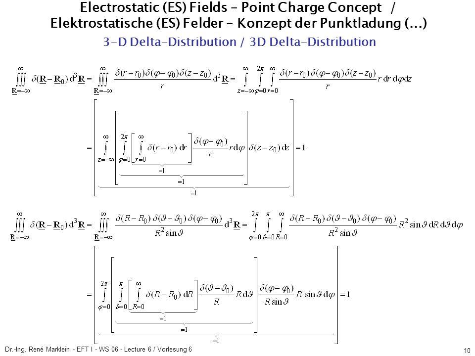 Dr.-Ing. René Marklein - EFT I - WS 06 - Lecture 6 / Vorlesung 6 10 ES Fields / ES Felder Point Charge Concept / Konzept der Punktladung (5) 3-D Delta