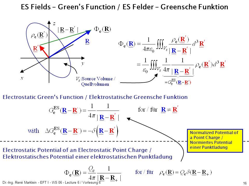 Dr.-Ing. René Marklein - EFT I - WS 06 - Lecture 6 / Vorlesung 6 16 ES Fields – Green's Function / ES Felder – Greensche Funktion Electrostatic Green'