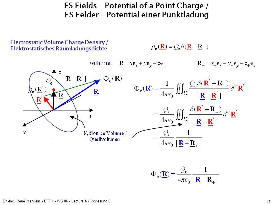 Dr.-Ing. René Marklein - EFT I - WS 06 - Lecture 6 / Vorlesung 6 17 Electrostatic Volume Charge Density / Elektrostatisches Raumladungsdichte ES Field