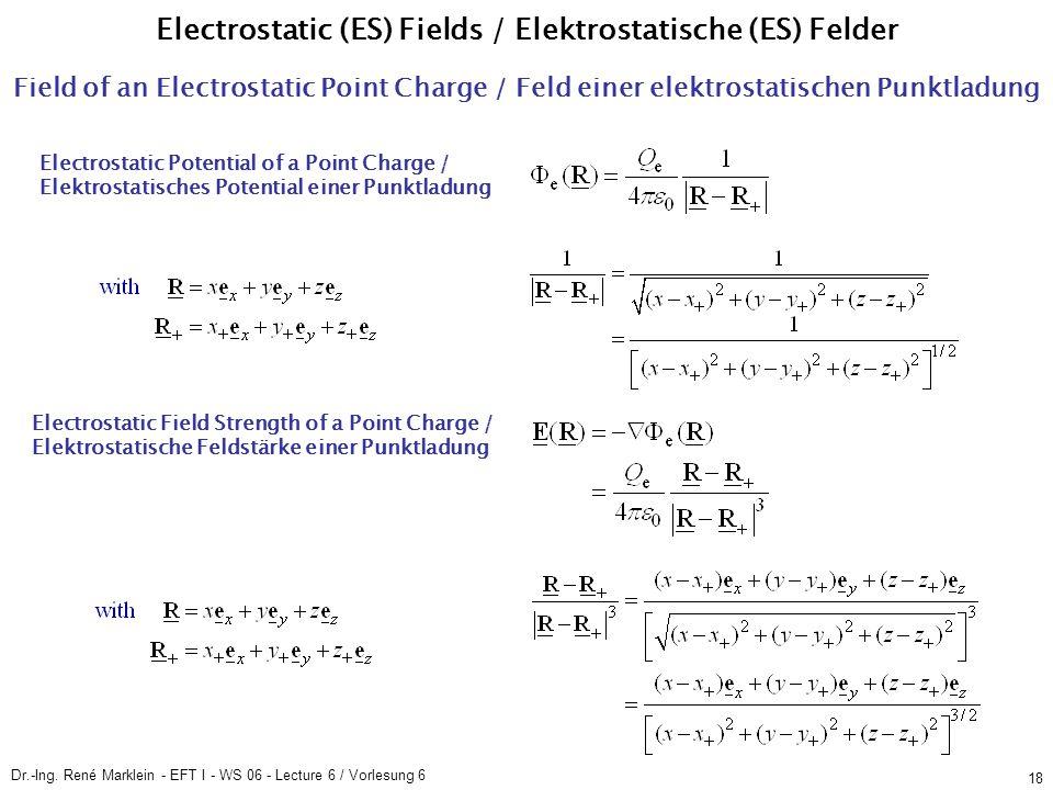 Dr.-Ing. René Marklein - EFT I - WS 06 - Lecture 6 / Vorlesung 6 18 Field of an Electrostatic Point Charge / Feld einer elektrostatischen Punktladung