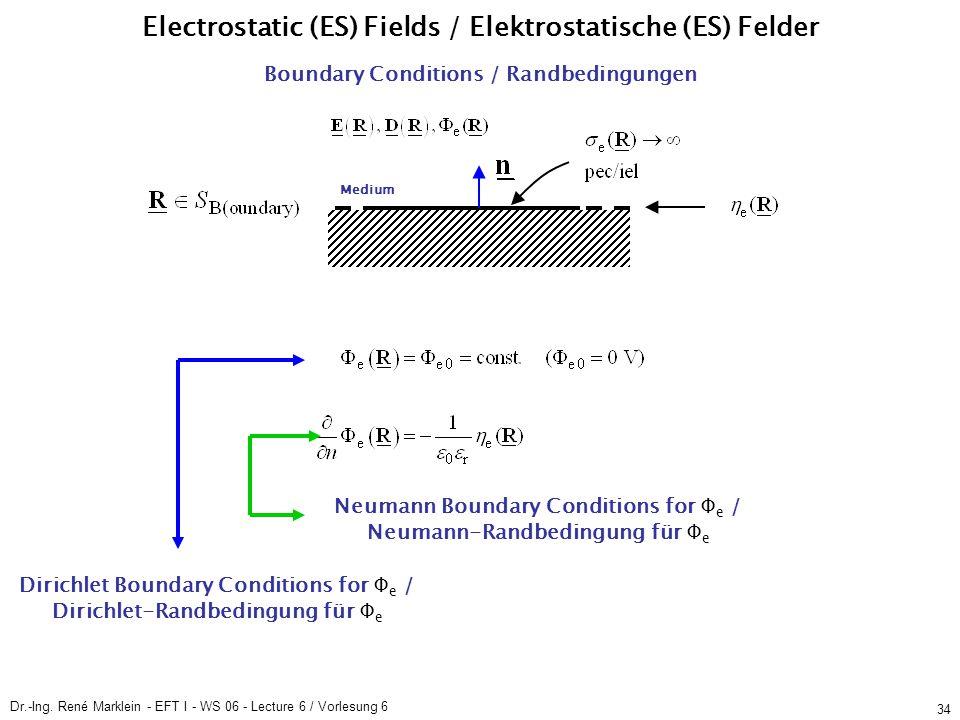 Dr.-Ing. René Marklein - EFT I - WS 06 - Lecture 6 / Vorlesung 6 34 Boundary Conditions / Randbedingungen Medium Electrostatic (ES) Fields / Elektrost