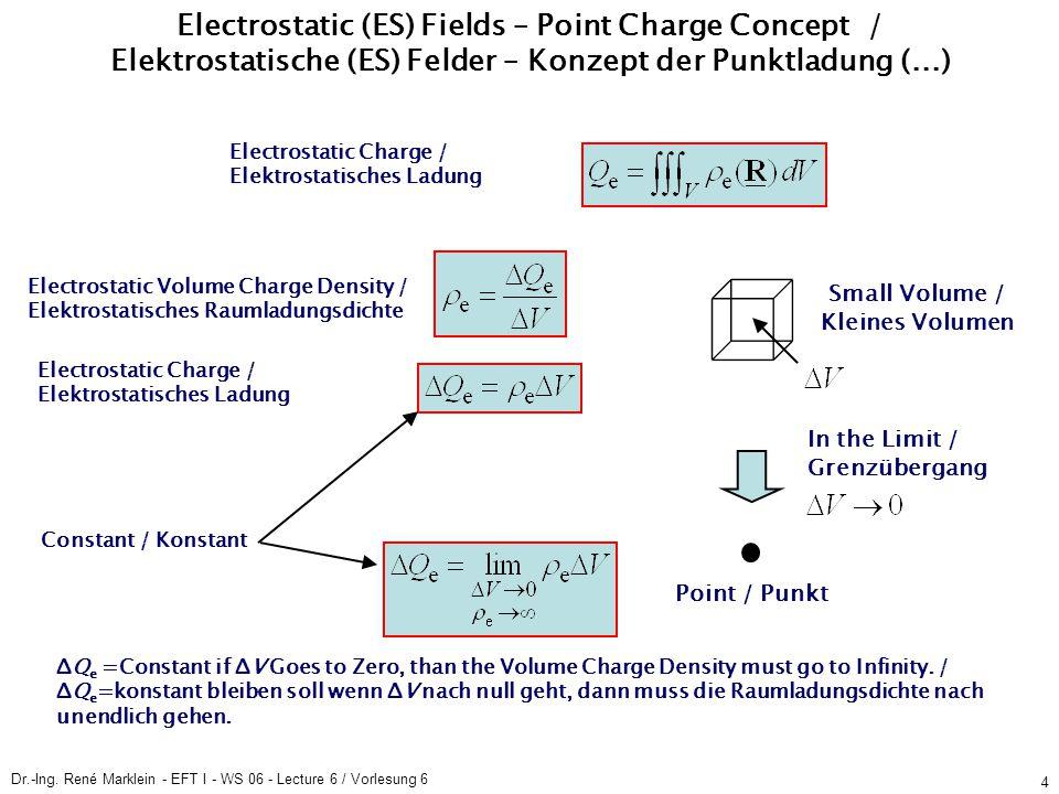 Dr.-Ing. René Marklein - EFT I - WS 06 - Lecture 6 / Vorlesung 6 4 ES Fields / ES Felder Point Charge Concept / Konzept der Punktladung ES Fields / ES