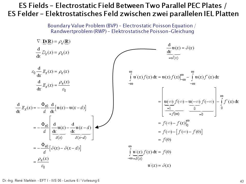 Dr.-Ing. René Marklein - EFT I - WS 06 - Lecture 6 / Vorlesung 6 43 ES Fields – Electrostatic Field Between Two Parallel PEC Plates / ES Felder – Elek