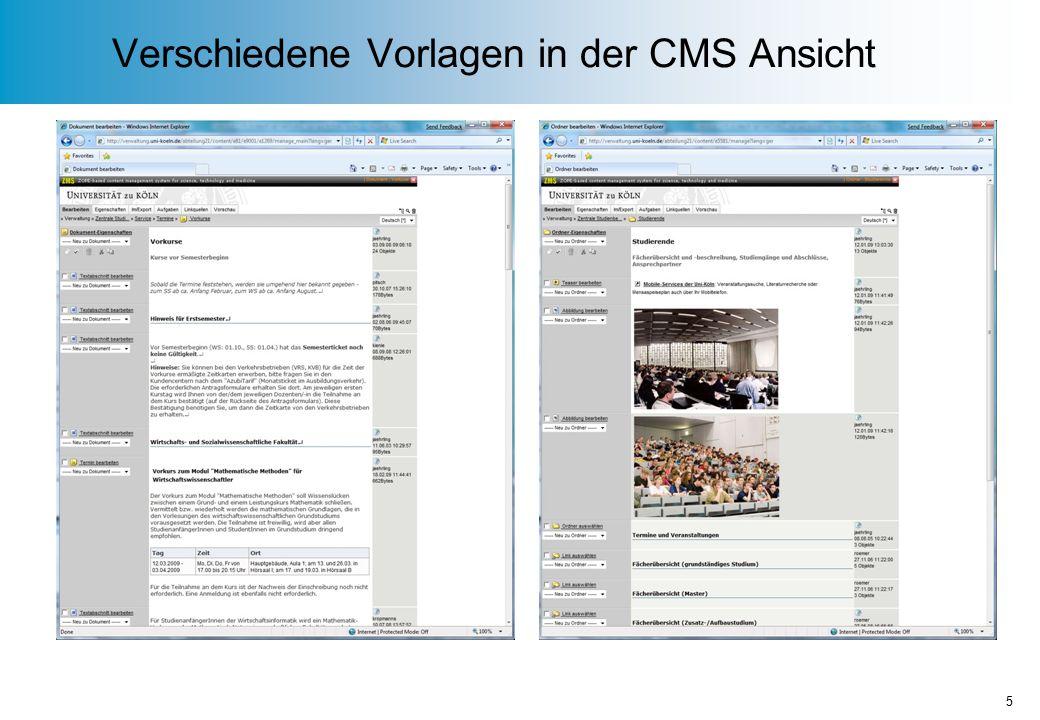 Verschiedene Vorlagen in der CMS Ansicht 5