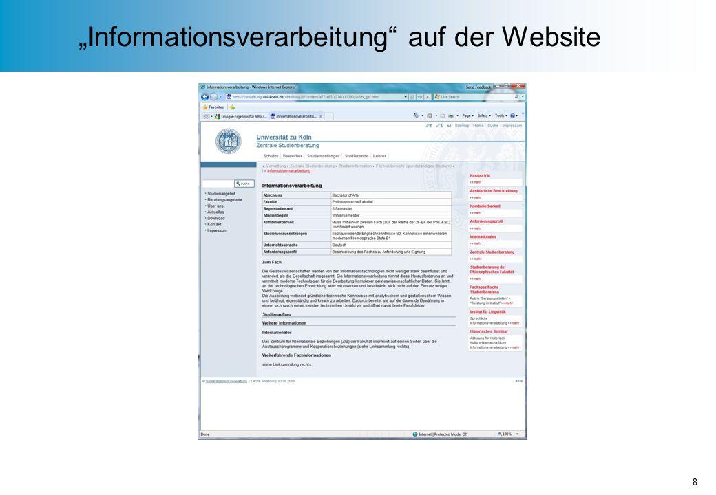 """""""Informationsverarbeitung auf der Website 8"""