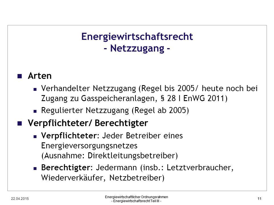 22.04.2015 Energiewirtschaftlicher Ordnungsrahmen - Energiewirtschaftsrecht Teil III - 11 Energiewirtschaftsrecht - Netzzugang - Arten Verhandelter Ne