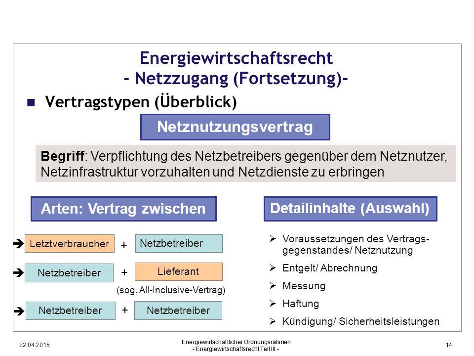 22.04.2015 Energiewirtschaftlicher Ordnungsrahmen - Energiewirtschaftsrecht Teil III - 14 Energiewirtschaftsrecht - Netzzugang (Fortsetzung)- Vertrags