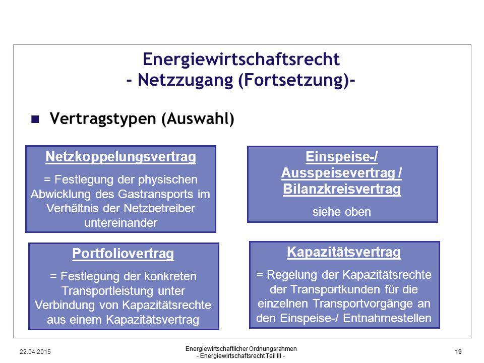 22.04.2015 Energiewirtschaftlicher Ordnungsrahmen - Energiewirtschaftsrecht Teil III - 19 Energiewirtschaftsrecht - Netzzugang (Fortsetzung)- Vertrags