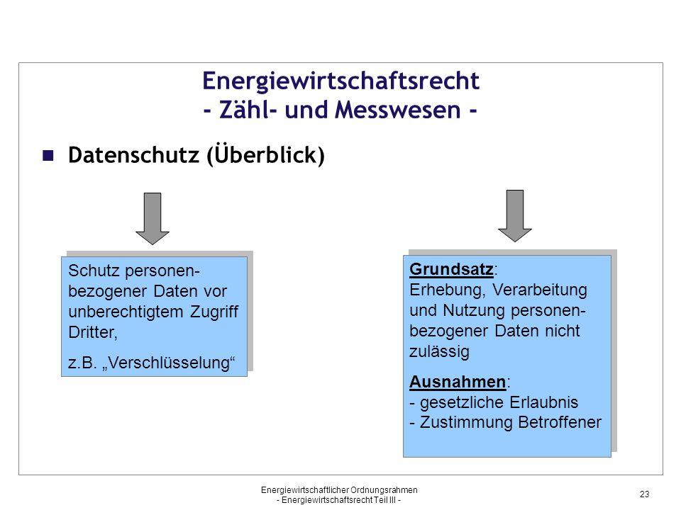 """Energiewirtschaftsrecht - Zähl- und Messwesen - Datenschutz (Überblick) Schutz personen- bezogener Daten vor unberechtigtem Zugriff Dritter, z.B. """"Ver"""