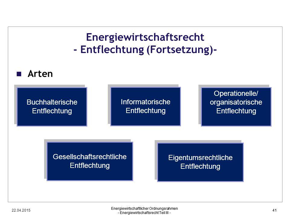 22.04.2015 Energiewirtschaftlicher Ordnungsrahmen - Energiewirtschaftsrecht Teil III - 41 Energiewirtschaftsrecht - Entflechtung (Fortsetzung)- Arten