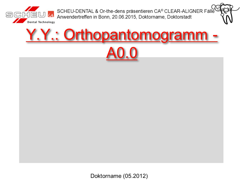 Y.Y.: Orthopantomogramm - A0.0 SCHEU-DENTAL & Or-the-dens präsentieren CA ® CLEAR-ALIGNER Fälle Anwendertreffen in Bonn, 20.06.2015, Doktorname, Dokto
