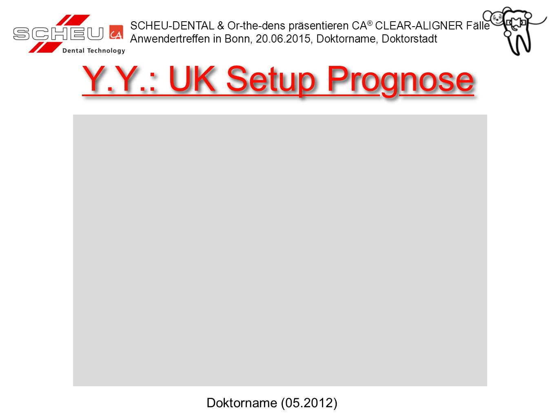 Y.Y.: UK Setup Prognose SCHEU-DENTAL & Or-the-dens präsentieren CA ® CLEAR-ALIGNER Fälle Anwendertreffen in Bonn, 20.06.2015, Doktorname, Doktorstadt