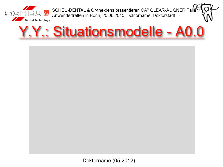 Y.Y.: Behandlungsverlauf SCHEU-DENTAL & Or-the-dens präsentieren CA ® CLEAR-ALIGNER Fälle Anwendertreffen in Bonn, 20.06.2015, Doktorname, Doktorstadt Doktorname (12.2012) Anfang: 02.05.2012Ende: 18.12.2012
