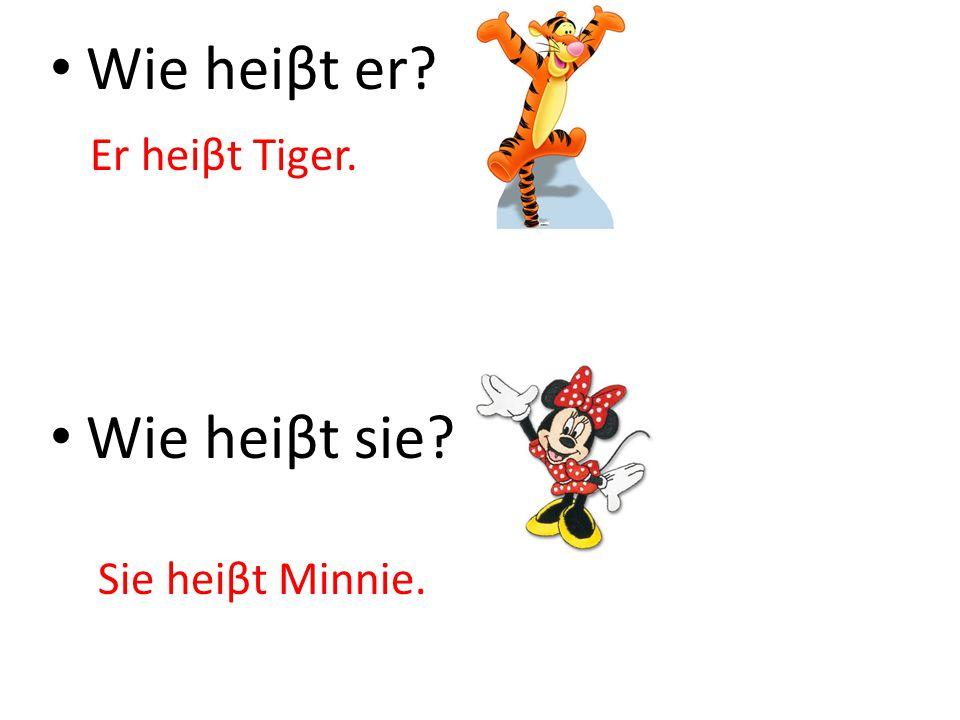 Wie heiβt er? Wie heiβt sie? Er heiβt Tiger. Sie heiβt Minnie.
