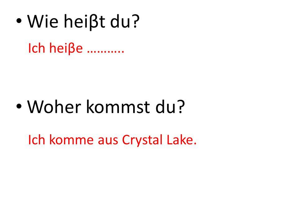 Wie heiβt du? Woher kommst du? Ich heiβe ……….. Ich komme aus Crystal Lake.