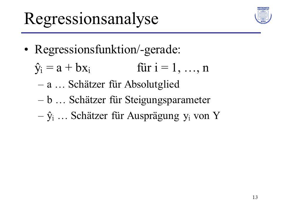 13 Regressionsanalyse Regressionsfunktion/-gerade: ŷ i = a + bx i für i = 1, …, n –a … Schätzer für Absolutglied –b … Schätzer für Steigungsparameter –ŷ i … Schätzer für Ausprägung y i von Y