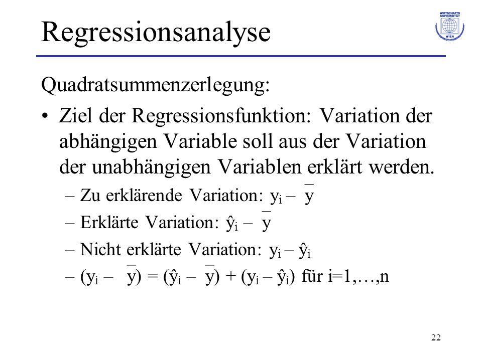 22 Regressionsanalyse Quadratsummenzerlegung: Ziel der Regressionsfunktion: Variation der abhängigen Variable soll aus der Variation der unabhängigen Variablen erklärt werden.
