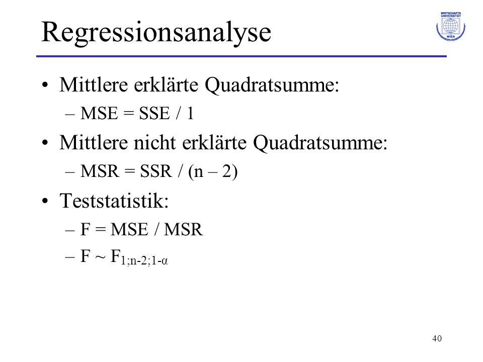 40 Regressionsanalyse Mittlere erklärte Quadratsumme: –MSE = SSE / 1 Mittlere nicht erklärte Quadratsumme: –MSR = SSR / (n – 2) Teststatistik: –F = MSE / MSR –F ~ F 1;n-2;1-α