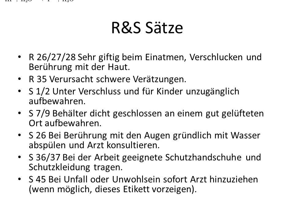 R&S Sätze R 26/27/28 Sehr giftig beim Einatmen, Verschlucken und Berührung mit der Haut. R 35 Verursacht schwere Verätzungen. S 1/2 Unter Verschluss u