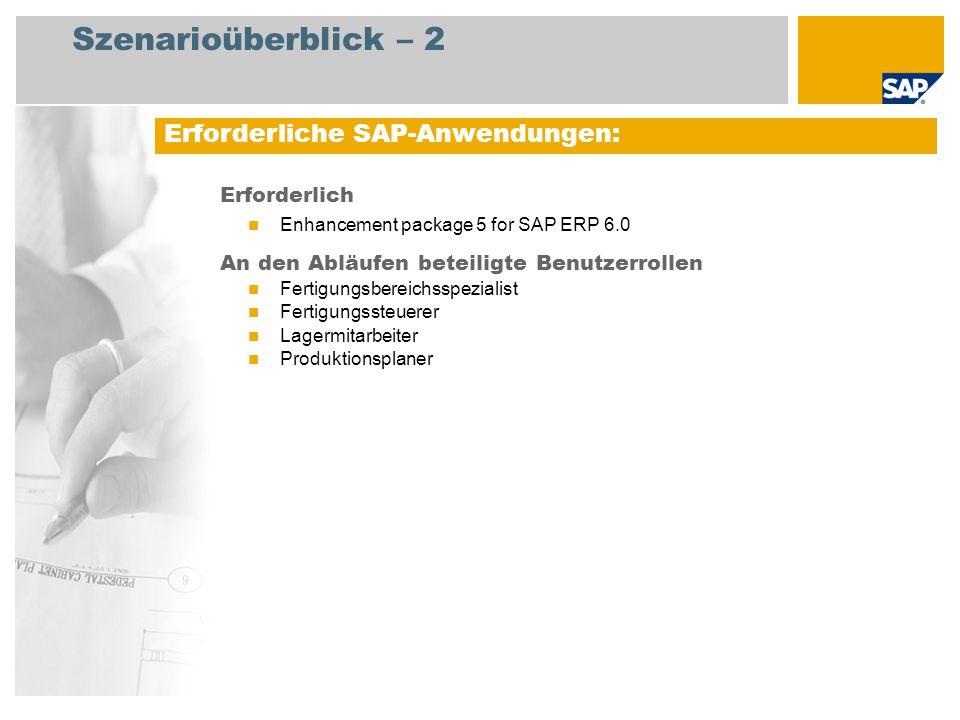 Szenarioüberblick – 2 Erforderlich Enhancement package 5 for SAP ERP 6.0 An den Abläufen beteiligte Benutzerrollen Fertigungsbereichsspezialist Fertigungssteuerer Lagermitarbeiter Produktionsplaner Erforderliche SAP-Anwendungen: