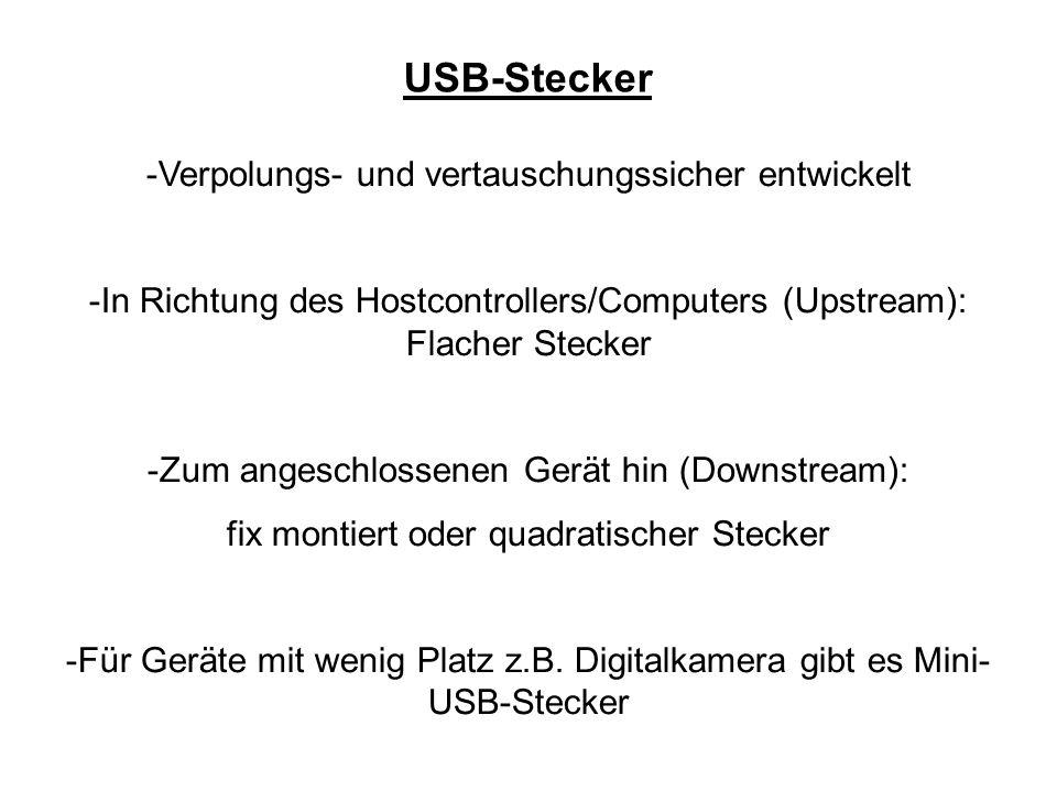 USB-Stecker -Verpolungs- und vertauschungssicher entwickelt -In Richtung des Hostcontrollers/Computers (Upstream): Flacher Stecker -Zum angeschlossene