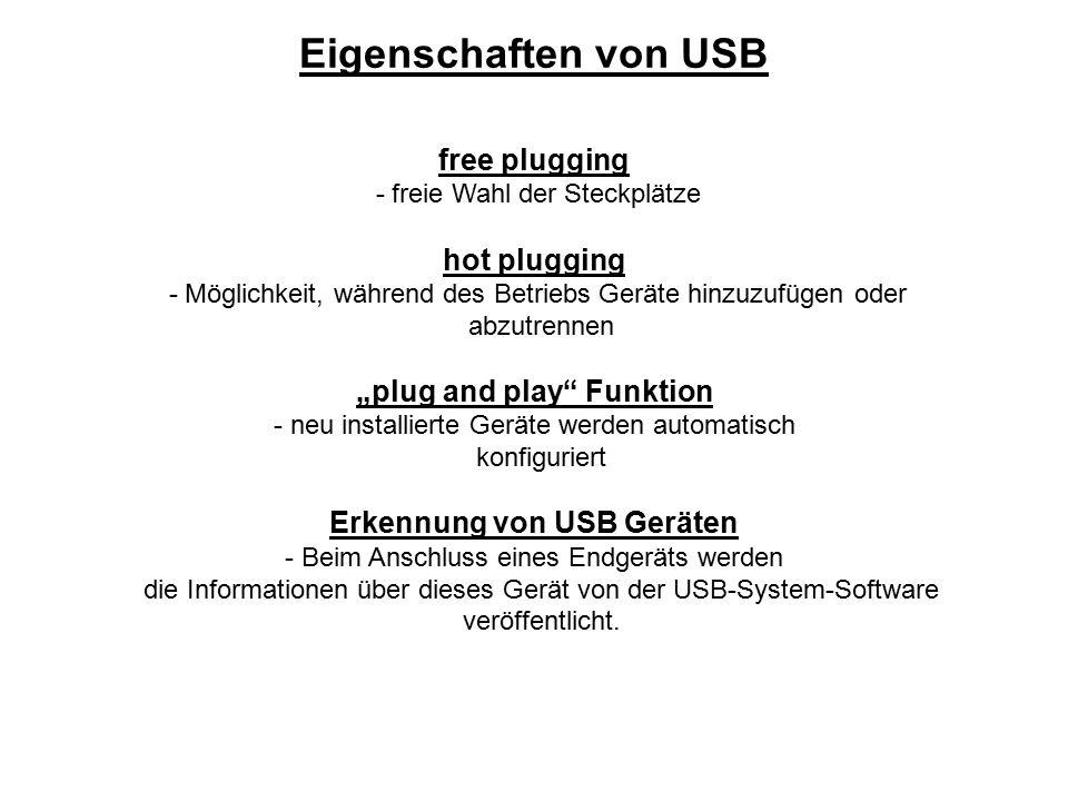 """free plugging - freie Wahl der Steckplätze hot plugging - Möglichkeit, während des Betriebs Geräte hinzuzufügen oder abzutrennen """"plug and play"""" Funkt"""
