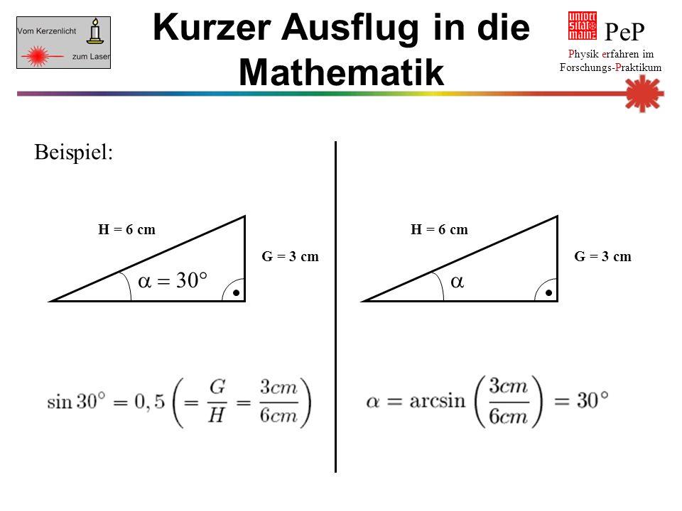 PeP Physik erfahren im Forschungs-Praktikum Kurzer Ausflug in die Mathematik Beispiel: G = 3 cm H = 6 cm  G = 3 cm H = 6 cm 