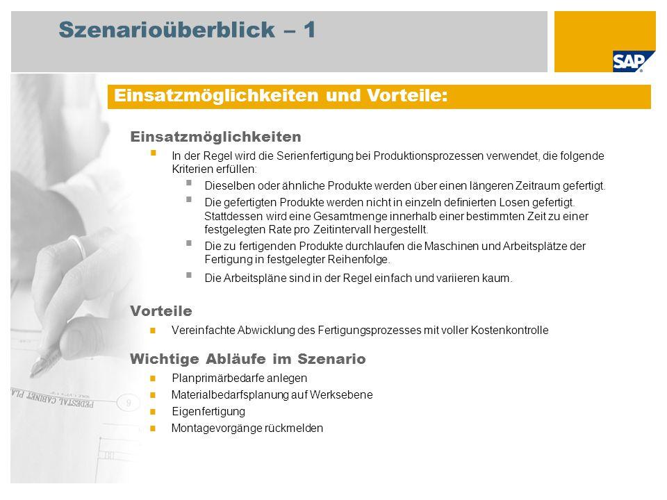 Szenarioüberblick – 2 Erforderlich Enhancement package 5 for SAP ERP 6.0 An den Abläufen beteiligte Benutzerrollen Strategischer Planer Produktionsplaner Fertigungsbereichsspezialist Lagermitarbeiter Erforderliche SAP-Anwendungen: