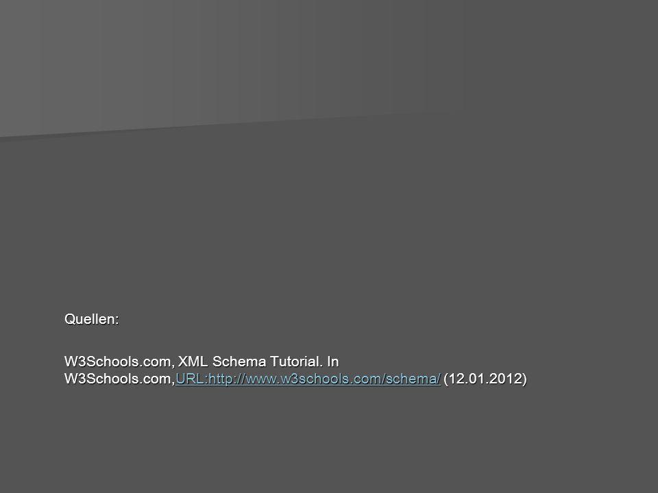 Quellen: W3Schools.com, XML Schema Tutorial.