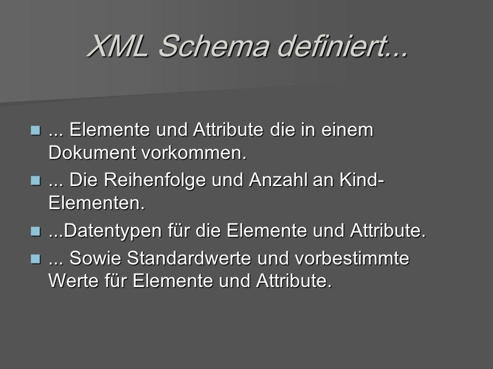 XML Schema definiert......Elemente und Attribute die in einem Dokument vorkommen....