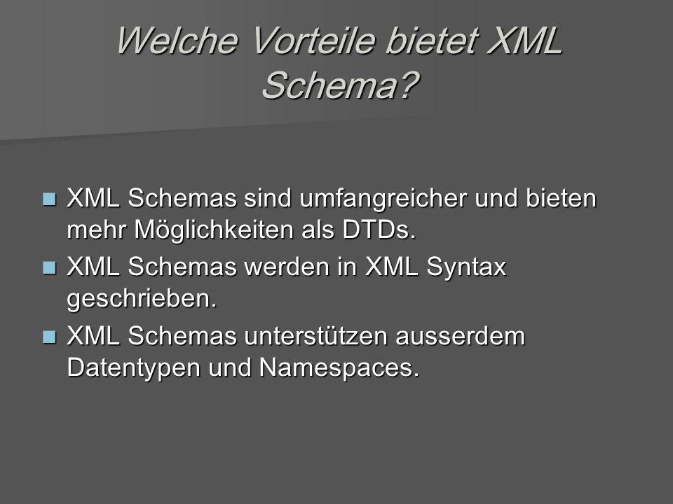 Welche Vorteile bietet XML Schema.
