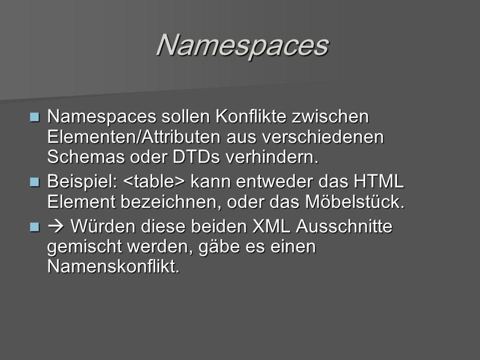 Namespaces Namespaces sollen Konflikte zwischen Elementen/Attributen aus verschiedenen Schemas oder DTDs verhindern.