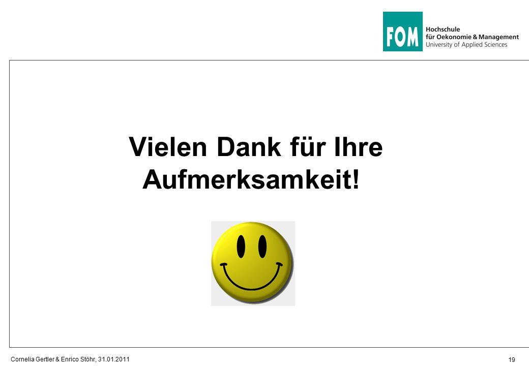 19 Vielen Dank für Ihre Aufmerksamkeit! Cornelia Gertler & Enrico Stöhr, 31.01.2011