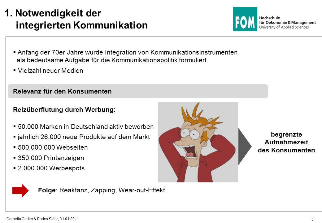 3  Anfang der 70er Jahre wurde Integration von Kommunikationsinstrumenten als bedeutsame Aufgabe für die Kommunikationspolitik formuliert  Vielzahl neuer Medien Relevanz für den Konsumenten Reizüberflutung durch Werbung:  50.000 Marken in Deutschland aktiv beworben  jährlich 26.000 neue Produkte auf dem Markt  500.000.000 Webseiten  350.000 Printanzeigen  2.000.000 Werbespots begrenzte Aufnahmezeit des Konsumenten 1.