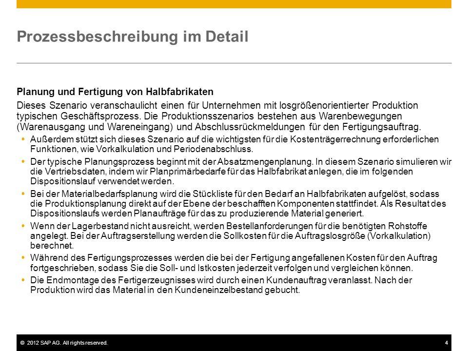 ©2012 SAP AG. All rights reserved.4 Prozessbeschreibung im Detail Planung und Fertigung von Halbfabrikaten Dieses Szenario veranschaulicht einen für U