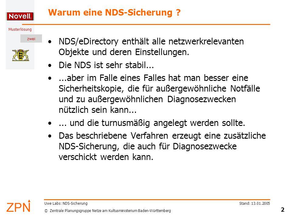 © Zentrale Planungsgruppe Netze am Kultusministerium Baden-Württemberg Musterlösung Stand: 13.01.2005 3 Uwe Labs: NDS-Sicherung Sicherung (1) Das Reparaturtool DSREPAIR enthält für die Sicherung eine Archivierungsoption.