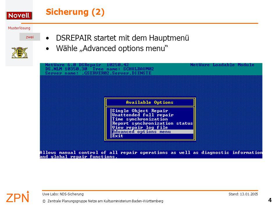 © Zentrale Planungsgruppe Netze am Kultusministerium Baden-Württemberg Musterlösung Stand: 13.01.2005 5 Uwe Labs: NDS-Sicherung Sicherung (3) Nach mehreren Menüpunkten...