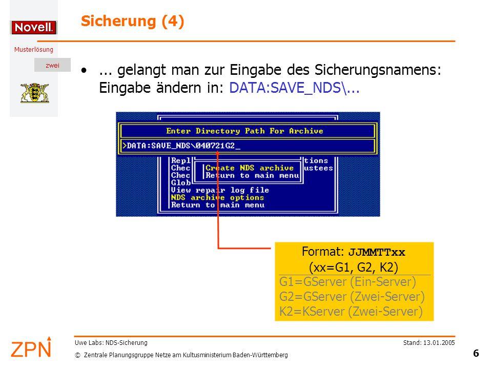 © Zentrale Planungsgruppe Netze am Kultusministerium Baden-Württemberg Musterlösung Stand: 13.01.2005 6 Uwe Labs: NDS-Sicherung Sicherung (4)...