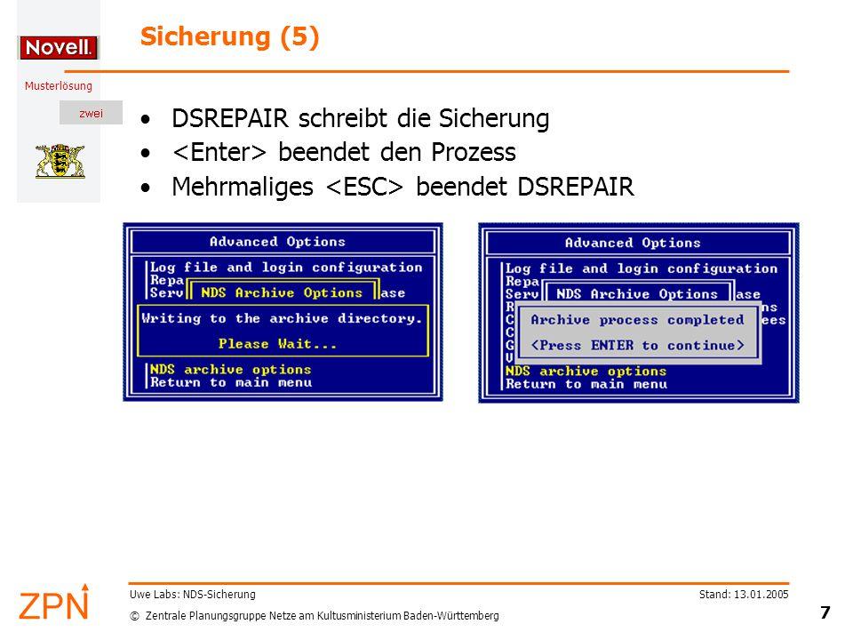 © Zentrale Planungsgruppe Netze am Kultusministerium Baden-Württemberg Musterlösung Stand: 13.01.2005 8 Uwe Labs: NDS-Sicherung Sicherung (6) Kontrolle mit Explorer: