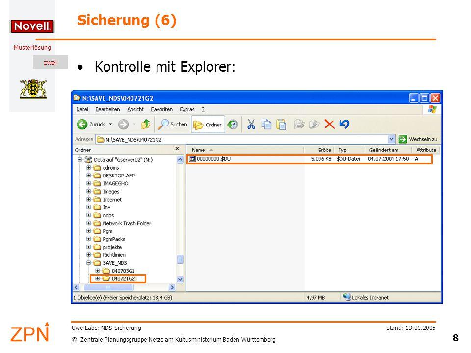 © Zentrale Planungsgruppe Netze am Kultusministerium Baden-Württemberg Musterlösung Stand: 13.01.2005 9 Uwe Labs: NDS-Sicherung Und wie spielt man ggf.