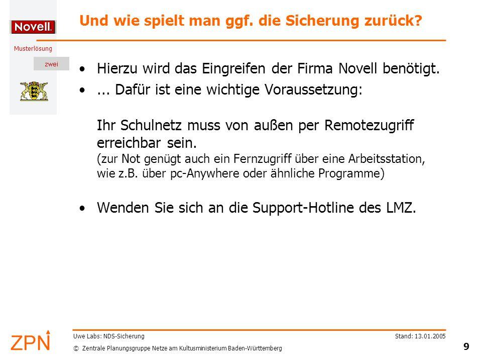 © Zentrale Planungsgruppe Netze am Kultusministerium Baden-Württemberg Musterlösung Stand: 13.01.2005 10 Uwe Labs: NDS-Sicherung Übung Legen Sie eine Sicherung der NDS für das heutige Datum an.